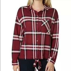 NWT Polly & Esther Juniors Tie Front Plaid…